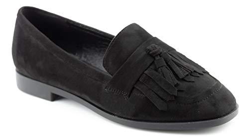 CALICO KIKI Women's Comfort Loafer Flat Shoes - Fringe Tassel Accents Flats Black_su