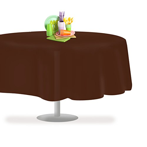 Grandipity Brown 6 Pack Premium Disposable Plastic Tablecloth 84