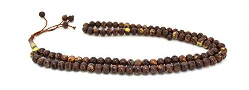 (Islamic Muslim Prayer Beads Tasbih with Allah & Muhammad Engraved (99 beads) (Brown))