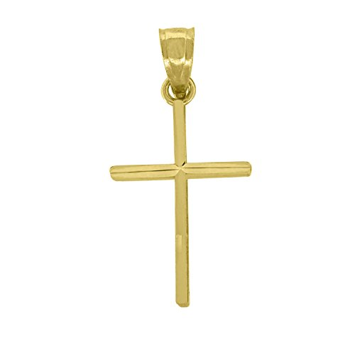 14kt White Gold Cross Crucifix - Jawa Jewelers 14kt Gold Unisex Cross Religious Pendant Charm