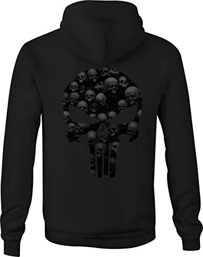 (Zip Up Hoodie American Patriot Punisher Skull Dark Mini-Skulls - XL Black)