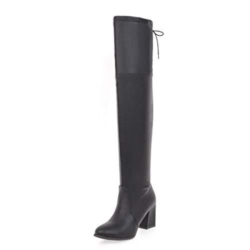 Mujer Botas Zapatos Largas 43 Haoliequan De Tacones 32 Gruesos El Negro Moda Para Cordones Muslo Mujeres Altas Invierno Tamaño gqxBvF