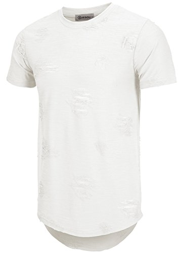 Urban T-shirt Designs - KLIEGOU Mens Hipster Hip Hop Ripped Round Hemline hole T Shirt(1705) (XX-Large, White)