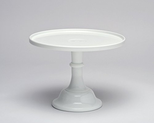 """12"""" White Milk Glass Cake Stand Plate Bakers Quality"""