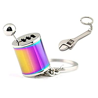 GT//Rotors Neon Chrome Six Speed Manual Transmission Gear Shift Fidget Toy Keychain [Bonus: Mini Monkey Wrench Keychain]: Automotive