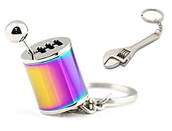 GT//Rotors Neon Chrome Six Speed Manual Transmission Gear Shift Fidget Toy Keychain [Bonus: Mini Monkey Wrench Keychain]