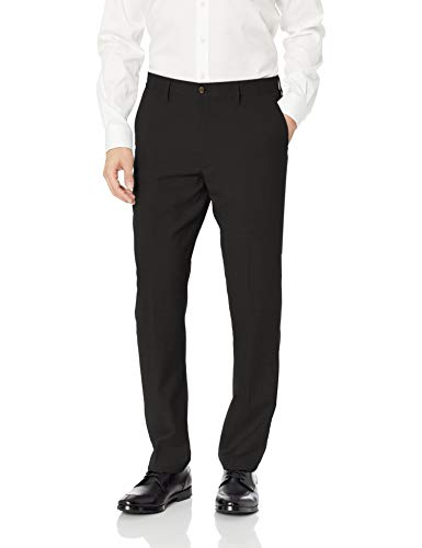 Mens Black Wool Pant - BUTTONED DOWN Men's Tailored Fit Stretch Wool Dress Pant, Black, 36W x 32L