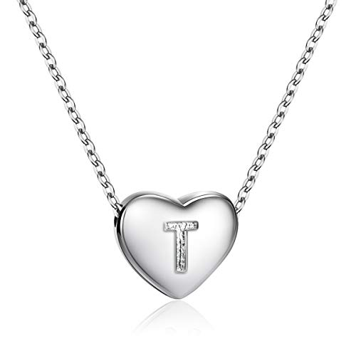 - Dainty Heart Initial Necklace S925 Sterling Silver Letters T Alphabet Pendant Necklace Birthday Gift for Friends