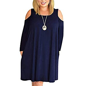 b433768f5 Kancystore Women Plus Size Dresses Short Sleeve Cold Shoulder Casual  T-Shirt Swing Dress with Pockets