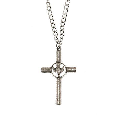 Cylinder-Style Cross With Cutout Dove In Center Pewter 24-Inch Pendant Necklace