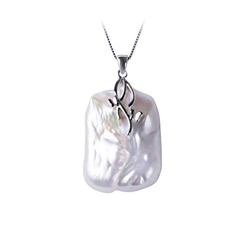 (Natural Freshwater Baroque Pearl Pendant Necklace,18-23Mm, 925 Sterling Silver Pendant Pearl Jewelry For Women White 45cm)