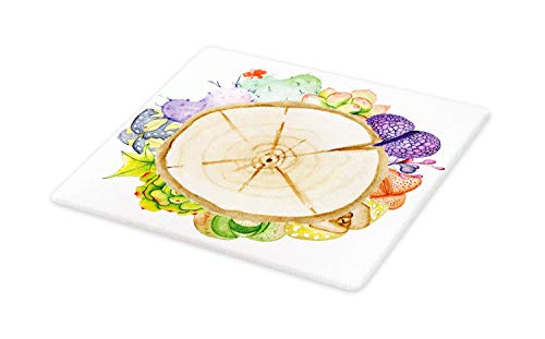 - Ambesonne Succulent Cutting Board, Wood Slice Tree Trunk with Cactus Plants Hand Painted Watercolor Style Artwork, Decorative Tempered Glass Cutting and Serving Board, Large Size, Multicolor
