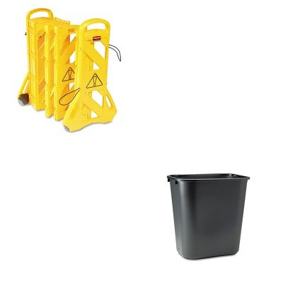 Soft Wastebasket - KITRCP295600BKRCP9S1100YEL - Value Kit - Rubbermaid Portable Mobile Safety Barrier (RCP9S1100YEL) and Rubbermaid-Black Soft Molded Plastic Wastebasket, 28 1/8 Quart (RCP295600BK)