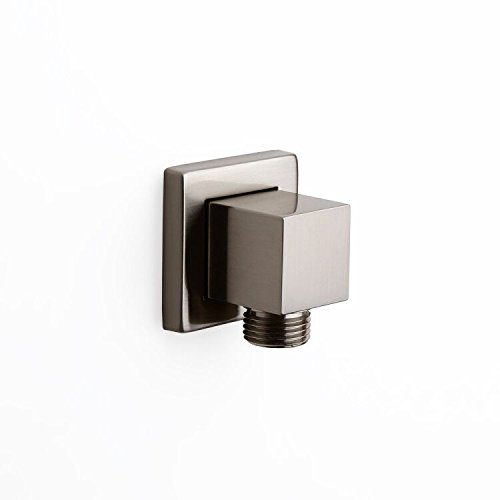 JiaYouJia Solid Brass Square Shower Wall Supply Elbow for Hand Shower in Brushed Nickel (Brass Supply Elbow)