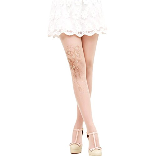 Mocure 15 D Bling Crystal Rhinestone Printed Floral Butterfly Socks Silk Sheer Transparent Tights Pantyhose