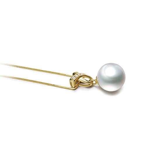 Blanc 10-11mm AAA-qualité des Mers du Sud 585/1000 Or Jaune-pendentif en perles