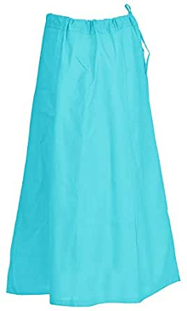 "Indian Trendy Sari Petticoat Cotton Stitched Adjustable Waist Saree Underskirt Lining Skirt (One Size (Waist: 26"" - 42""    Length: 38""), Aqua)"