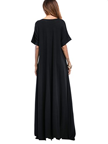 Romwe-Womens-Solid-Short-Sleeve-Pocket-Loose-Maxi-Long-Party-Dress