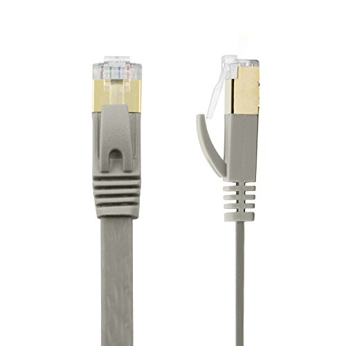Buhbo 10 ft CAT7 Flat Ethernet Cable Shielded STP Network Snagless Cable RJ45 Cat 7, Gray