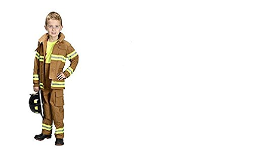 Black Jr Firefighter Helmet - Jr Firefighter Suit Tan with Black Helmet, Size 4/6