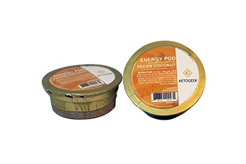 Ketogeek Pecan Coconut Energy Pods - Premium Keto Low Carb No Added Sugar High Fat with Fresh Pecans Ghee MCT Oil Vanilla Beans 3g Net Carbs - 8 Pods Box ()