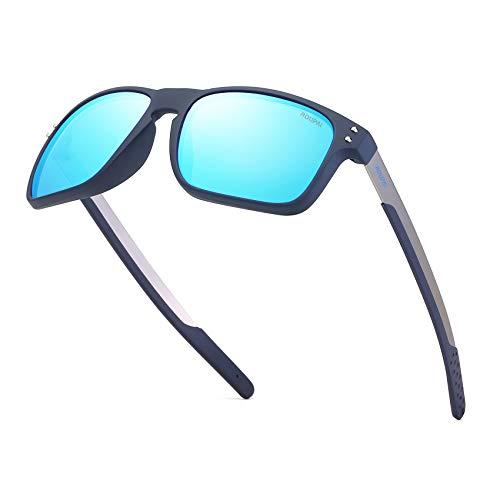 ROUPAI Unisex Polarized Aluminum Sunglasses Vintage Sun Glasses For Men/Women TR90 Unbreakable Frame 2556R (Ice - Aluminum Frame Classic Lead