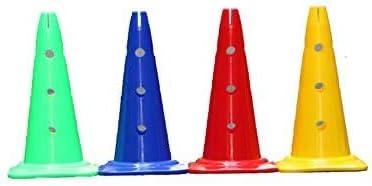 Boje Sport Set di 4 Coni marcatori forati 4 Colori 50 cm Cono PLASTICA Ostacoli Bambini Calcio Calcetto CORSPORT Coni