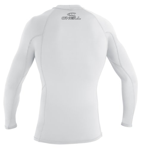 O'Neill Wetsuits UV Sun Protection Mens Basic Skins Long Sleeve Crew Sun Shirt Rash Guard, White, X-Large
