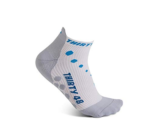 Thirty 48 Compression Low-Cut Running Socks for Men and Women (Small - Women 5-6.5 // Men 6-7.5, [1 Pair] Blue/White) by Thirty 48 (Image #1)