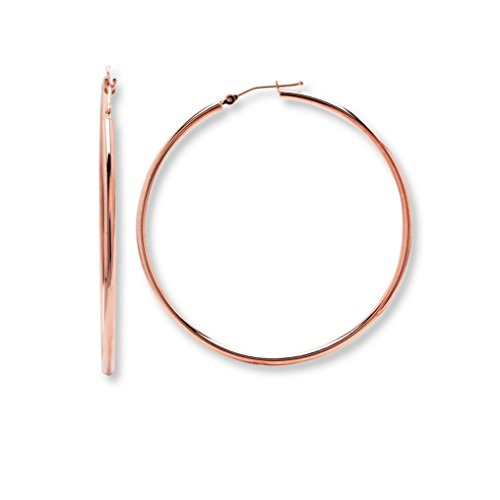 Rose Gold Plated Circle Hoop Earrings 50mm (Standard & Most Popular Size)