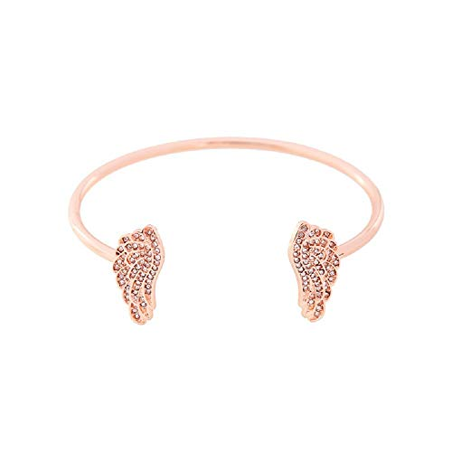 ELFTUNE Gold Bracelets for Women Hammered 14K Gold Fill Dainty Bar Pearl Adjustable Open Cuff Angel Wing Charm Bangle Bracelet Delicate Cute Friendship Gifts