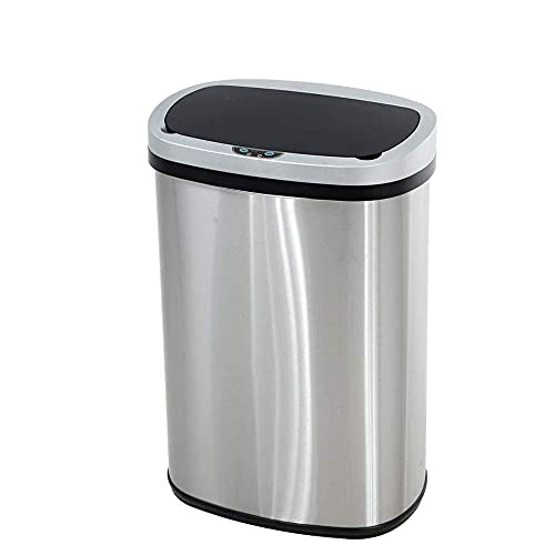 13 Gallon Touch-Free Automatic Stainless-Steel Trash Can Garbage Can Metal Trash Bin with Lid for Kitchen Living Room Office Bathroom, Electronic Touchless Motion Sensor Automatic Closure & Opening