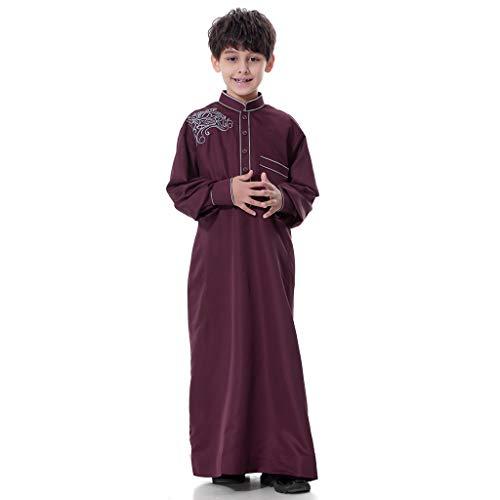 Mans Long Sleeve Solid Saudi Arab Islamic Muslim Dubai Robe for Boys (Green, XXL)