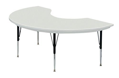 Correll Kidney Shape Blow Molded Activity Table in Grey Granite (Short/Gray Granite)