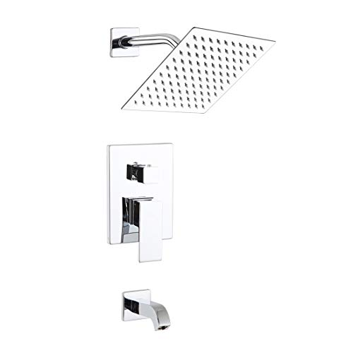 POP Shower Faucet Set with Tub Spout Chrome Bathroom Luxury Rain Mixer Shower System Wall Mounted Rainfall Shower Combo Set, Single Function Tub and Shower Trim Kit with Rough-in ()