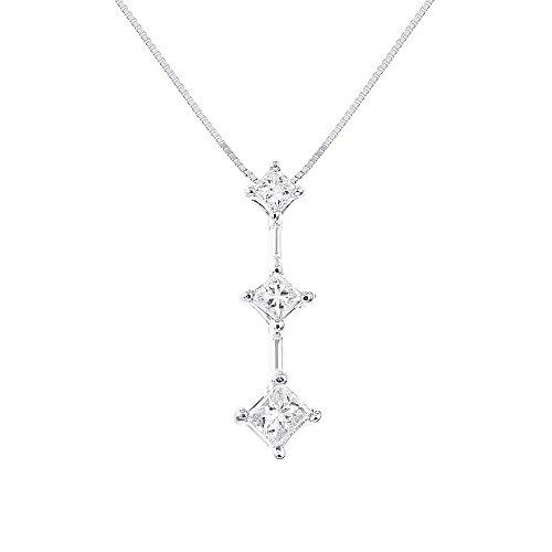 - Princess Cut 3 Stone Past Present Future Diamond Necklace 14K White Gold 1/2 CTTW