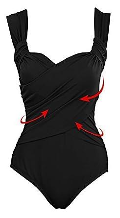 51809f121b CharmLeaks Women's Padded One Piece Swimsuits Ruched Vintage Slimming  Swimwear Beachwear Black