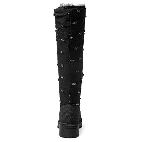 Coolcept Zipper Block Tall Half Black Fashion Boots Heel Women w0qrEwg