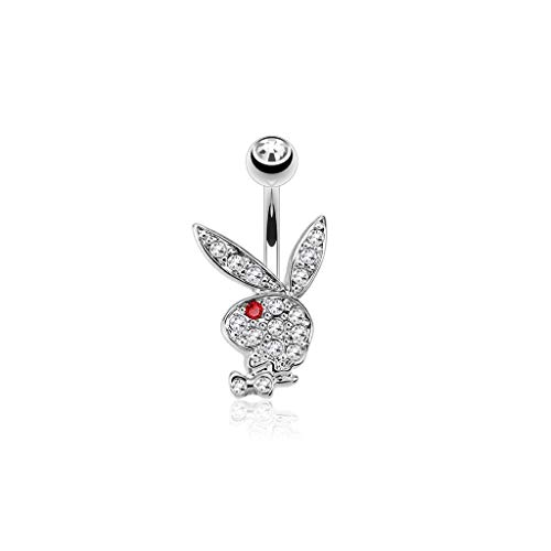 - Inspiration Dezigns 14GA Multi Colored Gems on Playboy Bunny 316L Surgical Steel Navel Ring (Clear/Red)