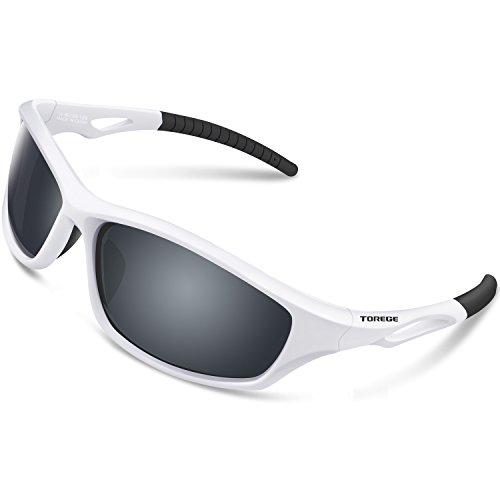 TOREGE Polarized Sports Sunglasses for Men Women for Cycling Running Fishing Golf TR90 Unbreakable Frame TR010-1 (White&Black Tips&Grey Lens) -