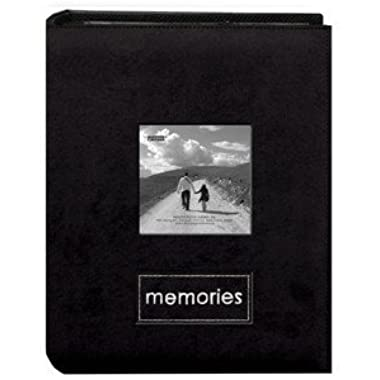 Pioneer Embroidered Patch Faux Suede Photo Album, with Front Cover Frame, Holds 100 4x6  Photos, 1 Per Page. Color: Raspberry