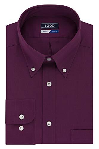 IZOD Men's Regular Fit Stretch Solid Buttondown Collar Dress Shirt, Raisin, 15
