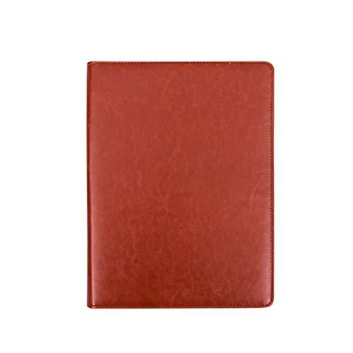 - STOBOK PU Leather Portfolio Padfolio A4 Multifunctional Business Folder with Calculator (Yellow Brown)