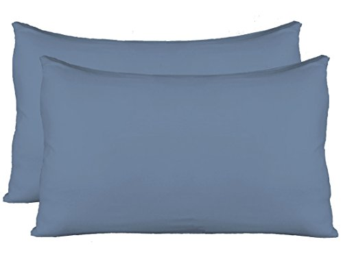 Stretch Jersey Pillow Cases with Invisible Zipper, Universal Size fit all King, Queen and Standard Size Pillows, Modal Rayon Spandex 180 Gram, Soft than Cotton, Pack of 2, Denim - Pillow Denim Blue
