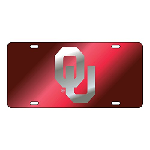 OU Oklahoma Sooners Red Mirrored License Plate Tag