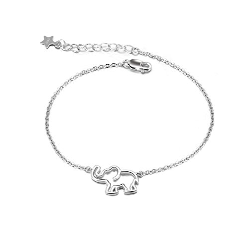 Elephant Bracelet Sterling Silver Adjustable Cable Link Chain Bracelets Good Luck Elephant Gifts for Women Girls