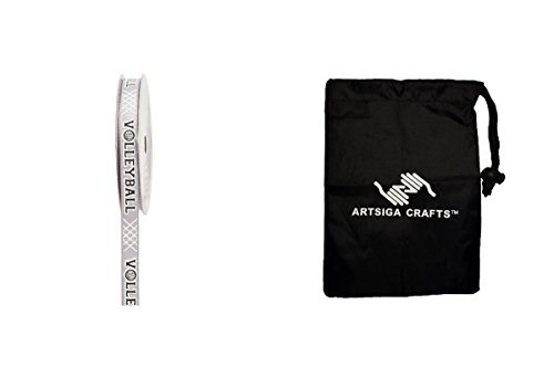 Darice Gift Wrapping Ribbon Oh So Trendy! Silver Volleyball 3/8in. x 4yds. (24 Pack) 2958 581 Bundle with 1 Artsiga Crafts Small Bag
