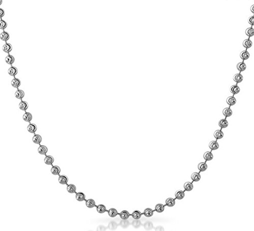 3MM .925 Sterling Silver Moon Cut Bead Pendant Chain Necklace Rhodium Plated (24)