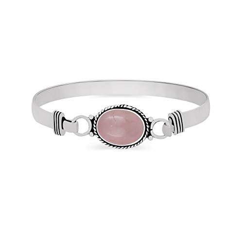 925 Silver Plated 9.10ct, Genuine Rose Quartz Bangle Made by Sterling Silver Jewelry