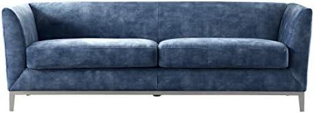 Acanva Luxury Mid-Century Modern Velvet Living Room Sofa, Couch, Navy Blue